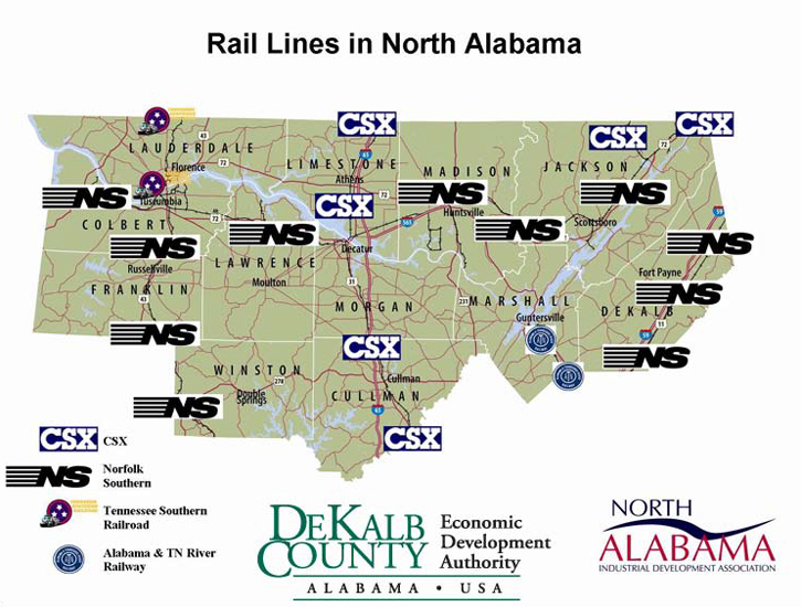 Rail Lines in North Alabama